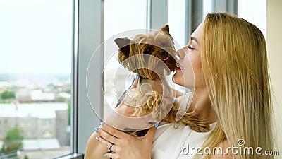 Stående av den härliga blonda kvinnan som rymmer den lilla fluffiga hunden som kysser henne