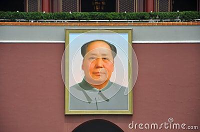Stående av Mao Zedong på Tiananmen Redaktionell Arkivfoto