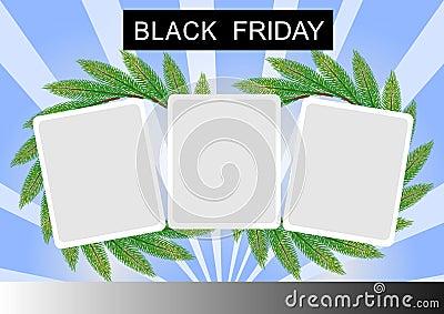 黑色星期五横幅和三在St的方形贴纸