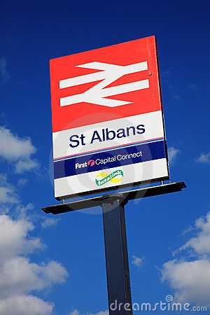 St Albans British Rail signpost Editorial Stock Photo
