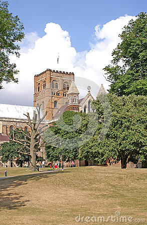 St Albans Cathedral from the park