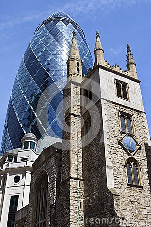 Free St Andrew Undershaft Church And The Gherkin In London Royalty Free Stock Photos - 41690888