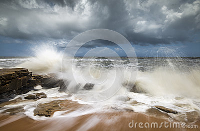 St. Augustine FL Beach Seascape Crashing Ocean Waves