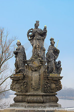 St. Barbara, Elizabeth and Margaret statue, Prague