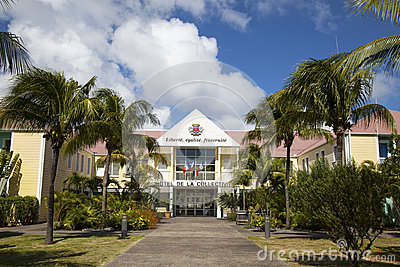 Hotel de la Collective, former Town Hall at St Barth, French West Indies. Editorial Photo