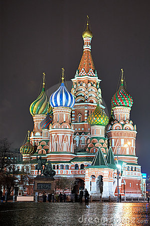 St. Basil Cathedral [at night] 3 Editorial Photo