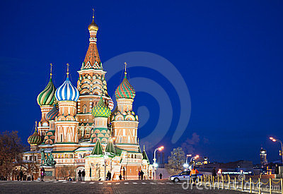 St. Basil s Cathedral at Red Square in night Editorial Stock Photo