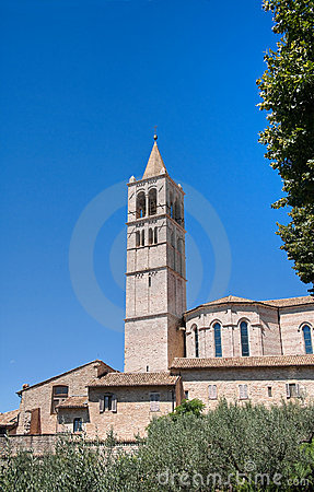 St. Chiara Basilica Belltower. Assisi. Umbria.