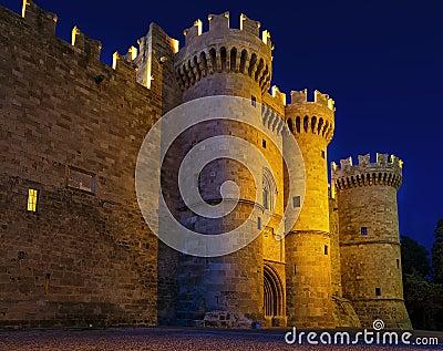 St John knights castle in night at Rhodes island, Greece Stock Photo