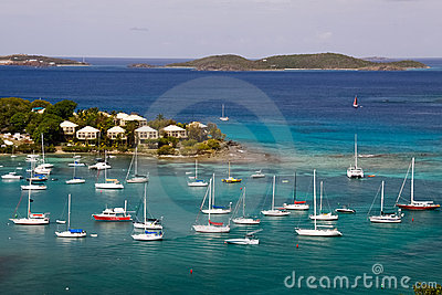 St. John, USVI - Cruz Bay Yachts and Sailboats Editorial Stock Photo