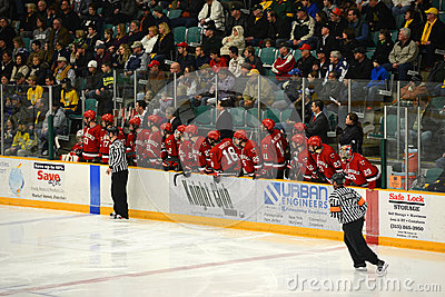 St. Lawrence Bench in NCAA Hockey Game Editorial Stock Image