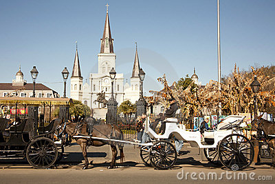 St Louis Cathedral with Mule Carriages Editorial Stock Image