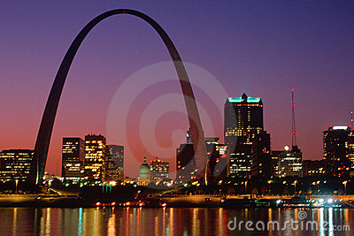 St. Louis, MO skyline and Arch at night