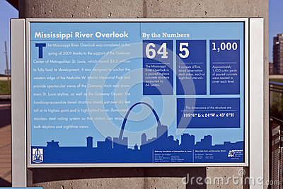 St. Louis Skyline & Mississippi River Lookout Sign Editorial Stock Image