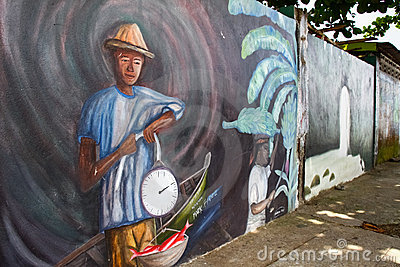 St Lucia - Anse La Raye karibische Wand-Kunst Redaktionelles Bild