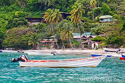 St. Lucia - Colorful Fishing Boat Off Soufriere Editorial Image