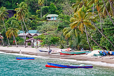 St. Lucia - Colorful Fishing Boats Editorial Stock Photo