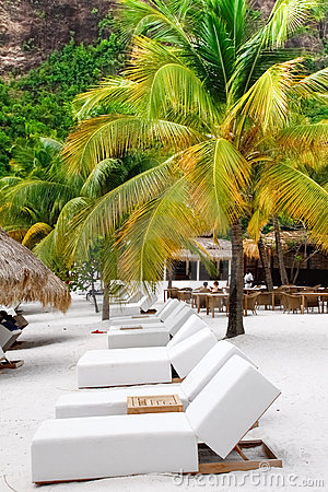 St. Lucia - Row of Lounge Chairs