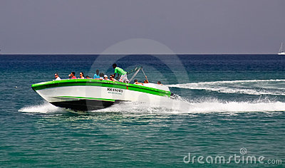 St. Lucia - Speed Boat Cruising Tour Fun Editorial Stock Photo