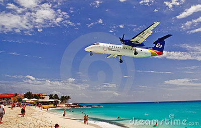 St. Maarten Maho Bay Liat Plane Landing Editorial Photography