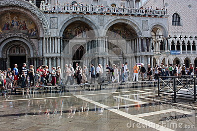 St. Mark s Square floods Editorial Image