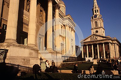 St Martin-in-the-Fields & The National Gallery Editorial Photo