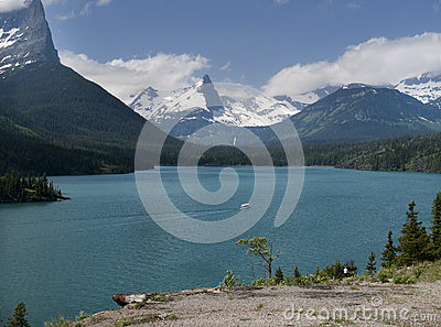 St Mary Lake with white tourist boat