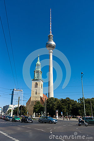 St. Mary s Church (Marienkirche) and the Berlin TV tower Editorial Photography
