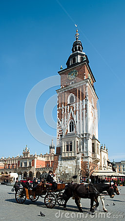 St Mary s - Krakow Old Town Square Editorial Stock Photo