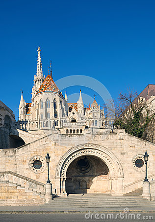 Free St, Matthias Church And Entrance To Fisherman Bastion In Budapes Royalty Free Stock Photo - 93835785