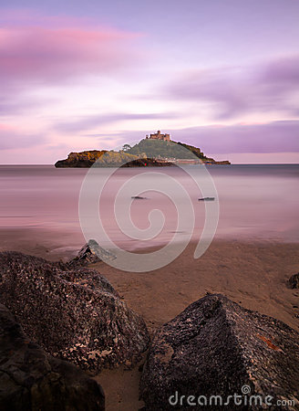 Free St. Michaels Mount With Rocks At Dusk, Cornwall Royalty Free Stock Images - 24913039