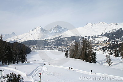 St Moritz lake in winter Editorial Stock Image