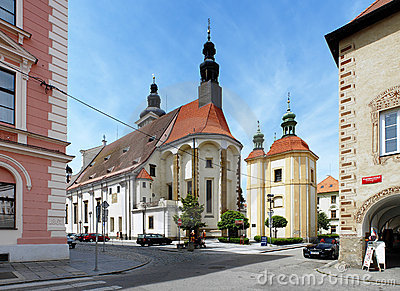 St. Nicholas Cathedral in Ceske Budejovice Editorial Image