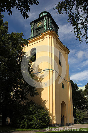 Free St Olai Church  S Bell Clock Tower. Norrkoping. Sweden Royalty Free Stock Photo - 33592465