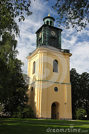 Free St Olai Church  S Bell Clock Tower. Norrkoping. Sweden Stock Photo - 33694290