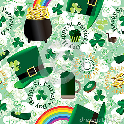 St. Patrick Day Green Seamless Pattern_eps
