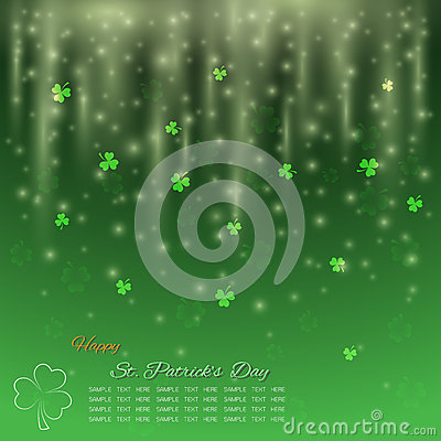 St. Patrick`s Day background, Green shamrock with glitter light Vector Illustration
