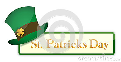 St. Patrick`s Day banners set with hat and clover