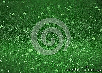 St. Patrick`s Day Glitter Shamrock Clover Bokeh Background Stock Photo