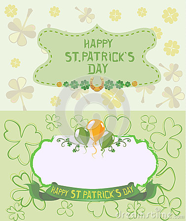 St. Patrick`s Day Greeting cards in pastel colors Vector Illustration