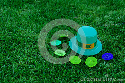St Patrick s Day hat and coins on grass