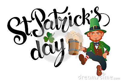 St. Patrick`s Day. Joyful jumping leprechaun. Vector Illustration