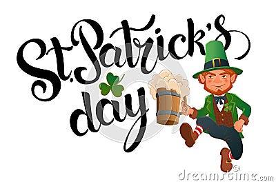 St. Patrick`s Day. Joyful jumping leprechaun. Vector Illustration