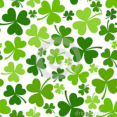St. Patricks day seamless background with shamrock Vector Illustration