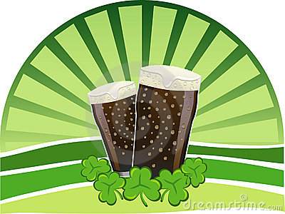 St. Patrick s Day - Stout beers with shamrocks