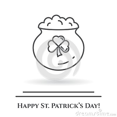 Free St. Patrick`s Day Theme Black And White Banner. Cauldron With Gold And Shamrock Leaf. Ireland Holiday Related Pictograms. Line Ou Royalty Free Stock Images - 110560049