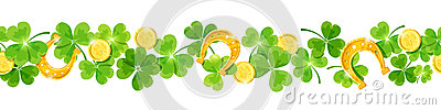 St. Patrick`s day vector horizontal seamless background with shamrock, coins and horseshoes. Vector Illustration