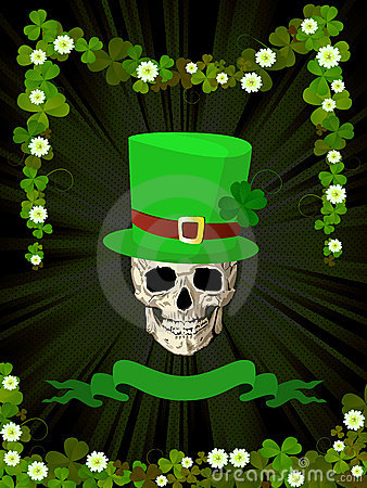 St.Patrick skull and clovers