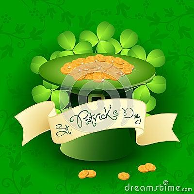 St. Patricks Day Card with  Leprechaun Hat