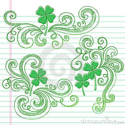 St Patricks Day Four Leaf Clovers Sketchy Doodles